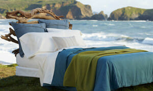 Our neighbor, Coyuchi, shows some fine organic linens on the waters edge