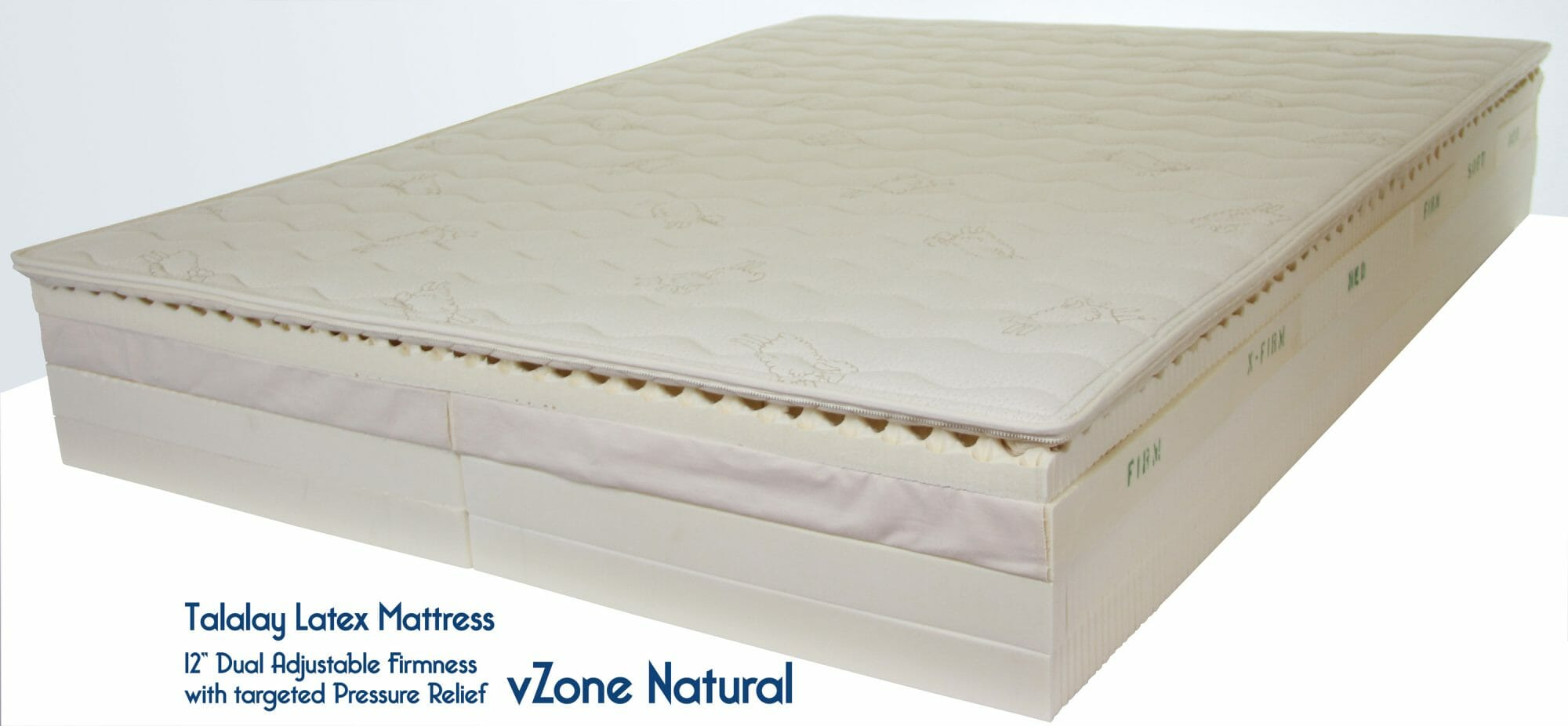 vZone Natural Latex Mattress with adjustable zones